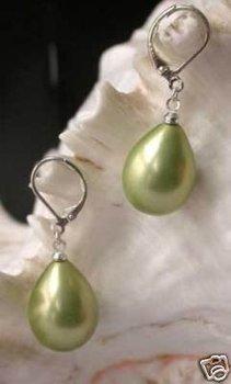 green shell Pearl Earrings    Free Shipping