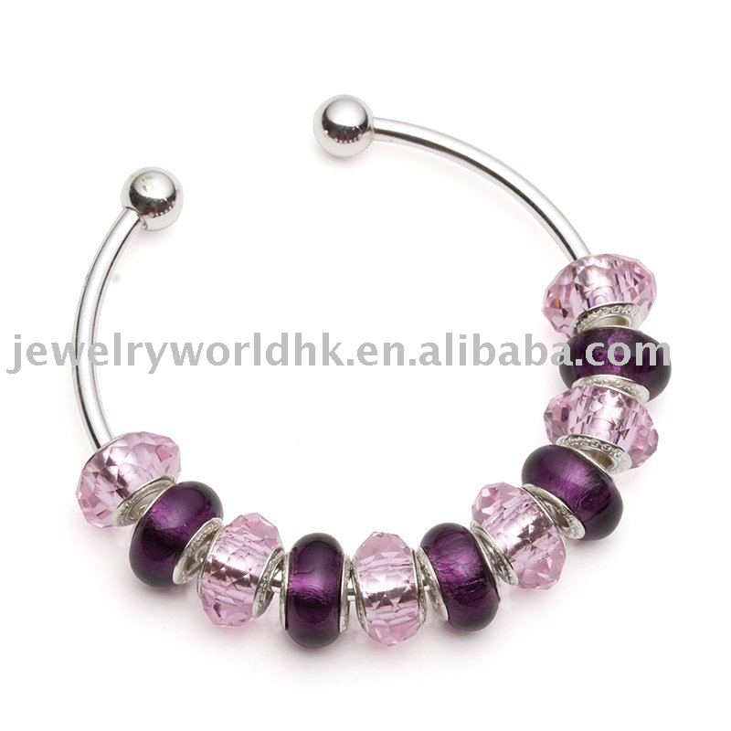 Silver purple bangle for European bracelet BG04(China (Mainland))