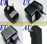 50pcs/lot EU US AU UK Charger with USB Plug Jack, Wall Charger, Mobile Phone Power Plug, Accessories Wholesale