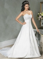 Popular A-line Satin sleeveless Free Shipping Wedding Dress&Wedding Gown Size Custom