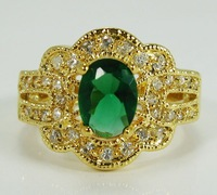 Free Shipping New Wholesale and retail Wonderful  Emerald Ring in 14K Yellow Gold GP Size 8