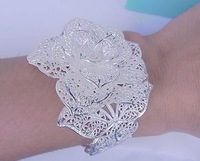 Hot Sale wholesale Fashion  jewelry 925 sterling silver cuff flower bracelet