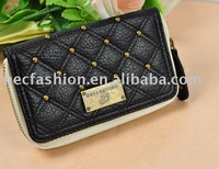Free Shipping Wholesale  2014 new rivets genuine leather wallet women  fashion coin purse( black) LBQ049
