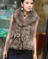 (#11-1828)free shipping fashion women's 100% genuine fox fur vest/fox fur coat/fox fur garment/retail/wholesale/different colors