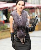 (#11-1830)free shipping women's 100% genuine silver fox fur vest/fox fur coat/fox fur garment/retail/wholesale/different colors