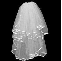 Cheap White Stain&Chiffon bridal veil/tulle veil Head Veil Wedding Veils Free shipping