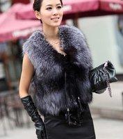 (#11-0116)free shipping women's 100% genuine silver fox fur vest/fox fur coat/fox fur garment/retail/wholesale/factory price