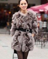 (#11-0815)free shipping fashion women's 100% genuine fox feet fur vest/fox fur coat/fox fur garment/retail/wholesale