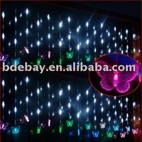 FREE SHIPPING! 6X0.65M blue 126 LED colorful butterfly curtain light for Christmas or wedding or party or shopwindow