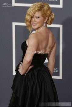 Kristine Elezaj Blac Red Carpet Evening Dress Sexy Celebrity Dresses AM.906 2011 Grammy Awards