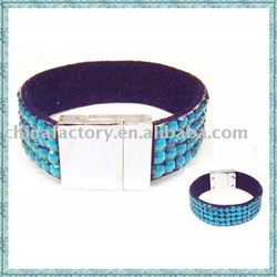 Fashion jewelry cheap leather bangle 4lines magnetic bracelet(China (Mainland))