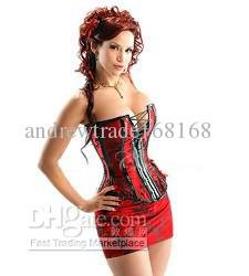 2176 Red S-XXL Hot Sexy Underwear Lace Up Boned Corset Lingerie Strapless Bustier Satin Skirt Thong(China (Mainland))