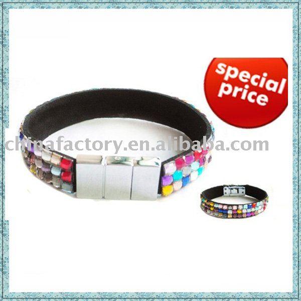 Plastic rhinestone black leather bracelet(China (Mainland))