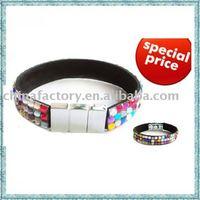 Plastic rhinestone black leather bracelet