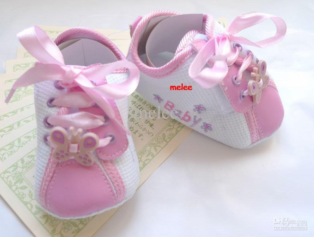 girl shoes Pink Ribbon Butterfly (6-12M) Soft crib baby(China (Mainland))