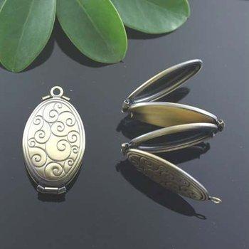 Dropship Pendant DIY Brass Bronze Copper European Antique Style Oval Shape Ocean Wave Prayer Box Photo Locket Jewelry 04758