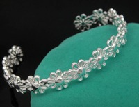 wholesale price flower bracelet/cuff 925 sterling silver gold plated free shipping