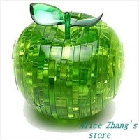 Light Apple Puzzle,3D Puzzle Crystal Decoration Red Green Apple Jigsaw Puzzle IQ Gadget Hobby Toy Gift, Free Shipping