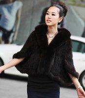 (#11-0102)free shipping fashion women's 100% genuine knitted mink fur shawl with fox fur/fur scarf/fur jacket/retail/wholesale