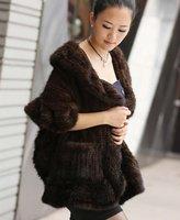 (#11-0105-1)free shipping fashion women's 100% genuine knitted mink fur shawl/scarf/fur jacket/retail/wholesale/natural fur
