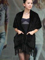 (#11-0106-1)free shipping fashion women's 100% genuine knitted mink fur shawl/mink scarf/mink jacket/mink coat/retail/wholesale