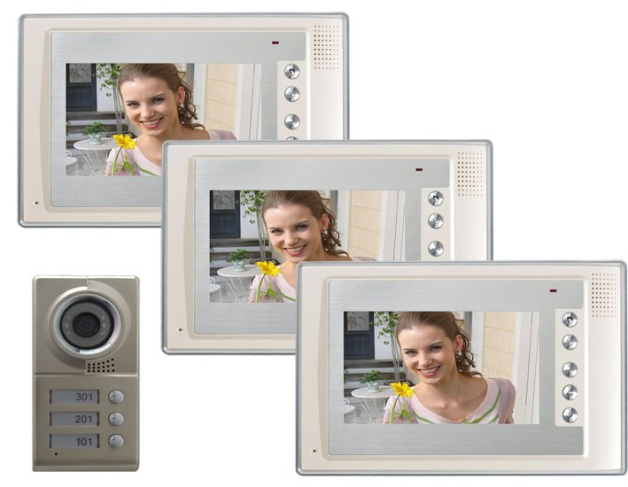 7 inch color LCD video doorphone/intercom system/ video door phone (1 to 3)(China (Mainland))