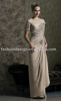 HLE00153 Newest Fashion taffeta cap sleeve appliqued floor  length  Evening dress