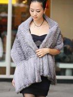 (#11-0107-3)free shipping fashion women's 100% genuine knitted mink fur shawl/mink scarf/mink jacket/mink coat/retail/wholesale