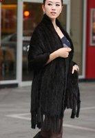 (#11-0108-1)free shipping fashion women's 100% genuine knitted black mink fur shawl/brown mink scarf/mink coat/retail/wholesale