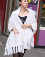 (#11-0108-2)free shipping women's 100% genuine knitted white big/large mink fur shawl/red mink scarf/mink coat/retail/wholesale