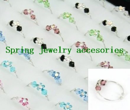 Freeshipping, multicolors rhinestone finger rings for women adjustable size(China (Mainland))