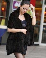 (#11-0111)free shipping women's 100% genuine knitted black/brown mink fur shawl/mink scarf/mink coat/retail/wholesale