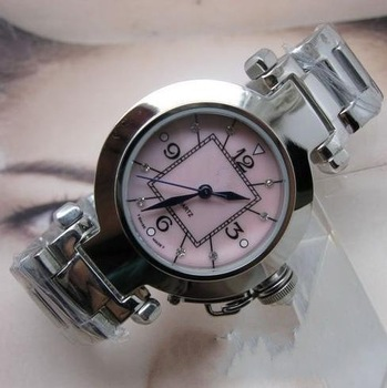 Free shippingFine steel BiaoShen, import quartz movement machine/mineral crystal glass dial, shells face, luxurious crystal dril
