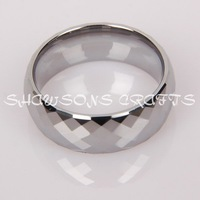 8MM FACETED TUNGSTEN CARBIDE WEDDING BAND MENS' RING