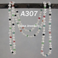 New Free Shipping A307#, AA Natural Shaper Of Pearls And Crystal Size:7-8mm 120cm(48inch)  Mix Color Long Necklace.