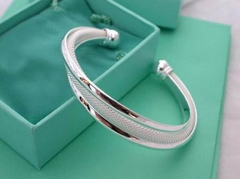 wholesale 925 Silver Dreamlike Bangle Bracelet Free shipping 925 jewelry,925 sterling Silver Bracelet B035