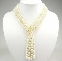 Nobler 4-strand Lariat Cultured White Pearl Necklace