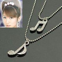 Silver Music note Rhinestone chain & pendant necklace