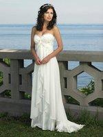 New Popular Romantic Beach Wedding Dresses Strapless Court Train Satin Bridal Gown <Custom-Made>