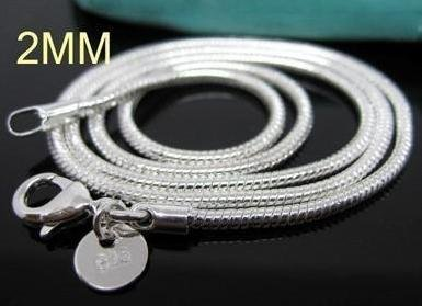 wholesale 30pcs smooth snake chain necklace 925 sterling silver 2MM 16 inch(China (Mainland))