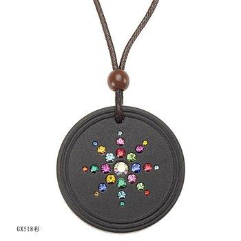 Free shipping fashion health necklace Quantum Pendant basalt Iava scalar energy germanium pendant inlaid CZ.diamond GX518c