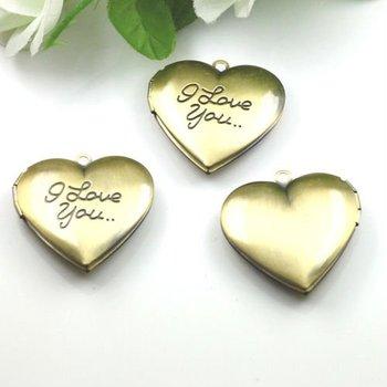 Dropship Pendant DIY Brass Bronze Copper European Antique Style Heart Love Prayer Box Photo Locket Jewelry 1131006