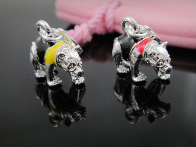 925 Sterling Silver Bear charms fits bracelets and necklaces wholesale price, free shipping(China (Mainland))