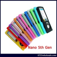 Free Shipping 10PCS/lot Silicone Skin Case Cover for Apple ipod Nano 5th Gen