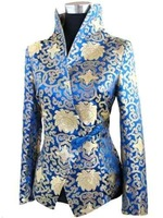 blue Wholesale retail Chinese Style Silk&Satin Ladides jacket/coat Size:M,L,XL,XXL,XXL,XXXL