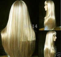 "Super Smooth Long Straight GOLDEN 22"" Synthetic Wigs (Free Shipping) 10pcs/lot mixed order"