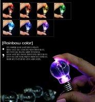 free shipping Creative LED light bulb keychain. Bright light bulb key ring. Mini colorful light bulb key ring