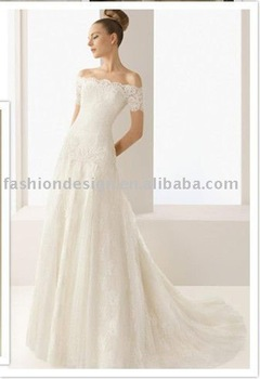 HLX00123 2011 Elegant lace off shoulder A-line floor length wedding dress