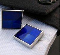 Blue Plaid style Shirt cuff Cufflinks cuff links  drop shipping for men's gift 619#