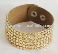 New Fashion PU Leather Bracelet Arcylic Crystal Cuff